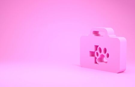 Pink Pet first aid kit icon isolated on pink background. Dog or cat paw print. Clinic box. Minimalism concept. 3d illustration 3D render Stok Fotoğraf