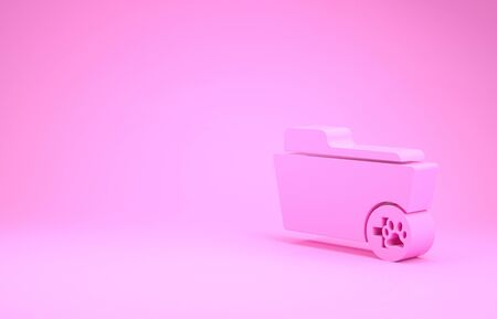 Pink Medical veterinary record folder icon isolated on pink background. Dog or cat paw print. Document for pet. Patient file icon. Minimalism concept. 3d illustration 3D render Stockfoto