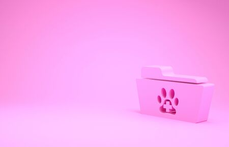 Pink Medical veterinary record folder icon isolated on pink background. Dog or cat paw print. Document for pet. Patient file icon. Minimalism concept. 3d illustration 3D render Stok Fotoğraf - 131642466