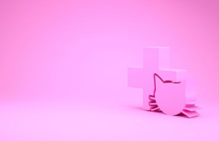 Pink Veterinary clinic symbol icon isolated on pink background. Cross with cat veterinary care. Pet First Aid sign. Minimalism concept. 3d illustration 3D render