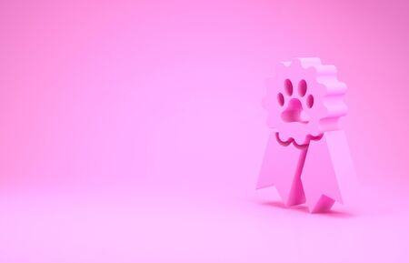 Pink Pet award symbol icon isolated on pink background. Badge with dog or cat paw print and ribbons. Medal for animal. Minimalism concept. 3d illustration 3D render