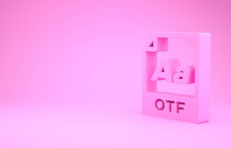 Pink OTF file document. Download otf button icon isolated on pink background. OTF file symbol. Minimalism concept. 3d illustration 3D render