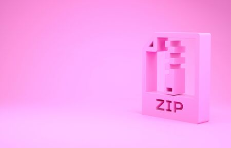 Pink ZIP file document. Download zip button icon isolated on pink background. ZIP file symbol. Minimalism concept. 3d illustration 3D render Stok Fotoğraf - 131643368