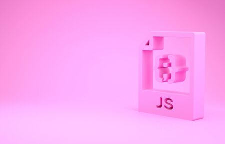 Pink JS file document. Download js button icon isolated on pink background. JS file symbol. Minimalism concept. 3d illustration 3D render