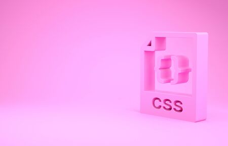 Pink CSS file document. Download css button icon isolated on pink background. CSS file symbol. Minimalism concept. 3d illustration 3D render Stock fotó