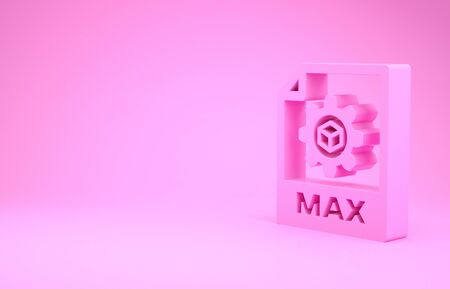 Pink MAX file document. Download max button icon isolated on pink background. MAX file symbol. Minimalism concept. 3d illustration 3D render Stock fotó