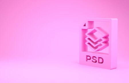 Pink PSD file document. Download psd button icon isolated on pink background. PSD file symbol. Minimalism concept. 3d illustration 3D render
