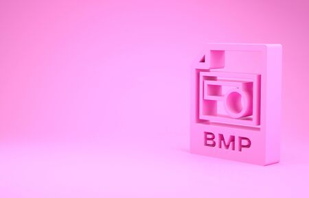 Pink BMP file document. Download bmp button icon isolated on pink background. BMP file symbol. Minimalism concept. 3d illustration 3D render