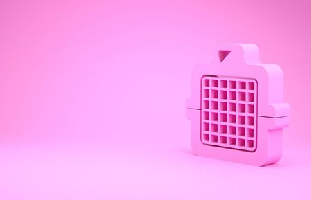 Pink Pet carry case icon isolated on pink background. Carrier for animals, dog and cat. Container for animals. Animal transport box. Minimalism concept. 3d illustration 3D render