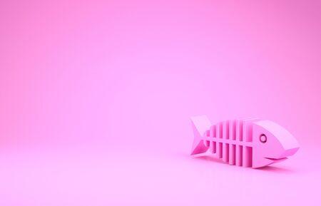 Pink Fish skeleton icon isolated on pink background. Fish bone sign. Minimalism concept. 3d illustration 3D render