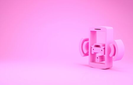 Pink Smart car alarm system icon isolated on pink background. The smartphone controls the car security on the wireless. Minimalism concept. 3d illustration 3D render Banco de Imagens