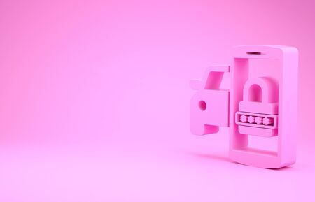 Pink Smart car security system icon isolated on pink background. The smartphone controls the car security on the wireless. Minimalism concept. 3d illustration 3D render