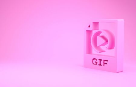 Pink GIF file document. Download gif button icon isolated on pink background. GIF file symbol. Minimalism concept. 3d illustration 3D render Stock fotó