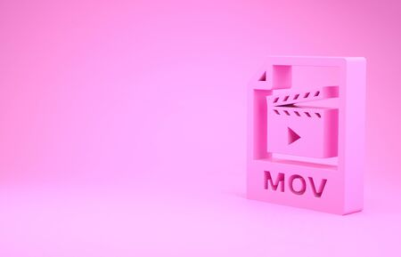 Pink MOV file document. Download mov button icon isolated on pink background. MOV file symbol. Audio and video collection. Minimalism concept. 3d illustration 3D render