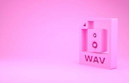 Pink WAV file document. Download wav button icon isolated on pink background. WAV waveform audio file format for digital audio riff files. Minimalism concept. 3d illustration 3D render Stock fotó