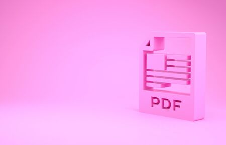 Pink PDF file document. Download pdf button icon isolated on pink background. PDF file symbol. Minimalism concept. 3d illustration 3D render Stok Fotoğraf - 131645249
