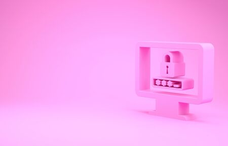 Pink Monitor with password notification and lock icon isolated on pink background. Security, personal access, user authorization, login form. Minimalism concept. 3d illustration 3D render 版權商用圖片