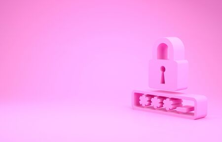 Pink Password protection and safety access icon isolated on pink background. Lock icon. Security, safety, protection, privacy concept. Minimalism concept. 3d illustration 3D render