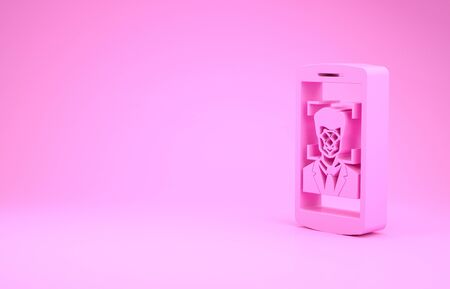 Pink Mobile phone and face recognition icon isolated on pink background. Face identification scanner icon. Facial id. Cyber security. Minimalism concept. 3d illustration 3D render