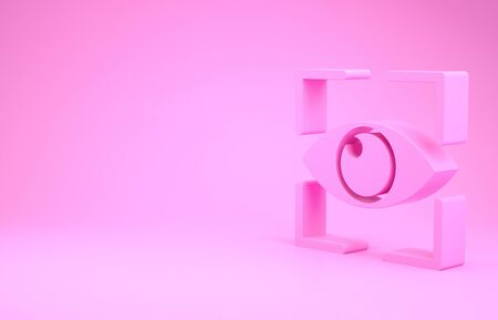 Pink Eye scan icon isolated on pink background. Scanning eye. Security check symbol. Cyber eye sign. Minimalism concept. 3d illustration 3D render