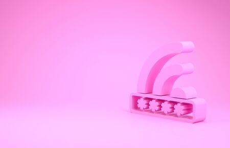 Pink Wifi locked sign icon isolated on pink background. Password wifi symbol. Wireless Network icon. Wifi zone. Limited access. Minimalism concept. 3d illustration 3D render