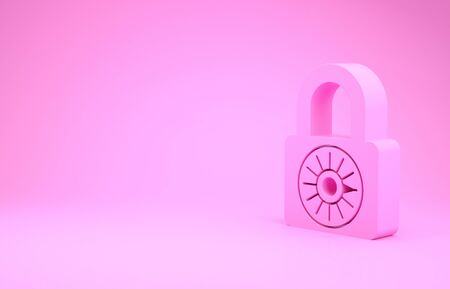 Pink Safe combination lock wheel icon isolated on pink background. Combination padlock. Security, safety, protection, password, privacy. Minimalism concept. 3d illustration 3D render 版權商用圖片