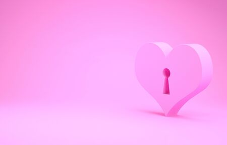 Pink Heart with keyhole icon isolated on pink background. Locked Heart. Love symbol and keyhole sign. Minimalism concept. 3d illustration 3D render 版權商用圖片