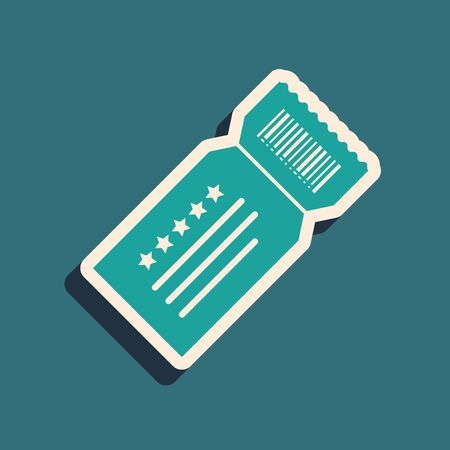 Green Ticket icon isolated on blue background. Long shadow style. Vector Illustration