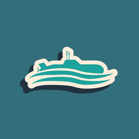 Green Submarine icon isolated on blue background. Military ship. Long shadow style. Vector Illustration 向量圖像