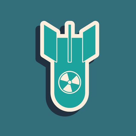 Green Nuclear bomb icon isolated on blue background. Rocket bomb flies down. Long shadow style. Vector Illustration