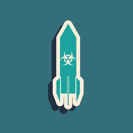 Green Biohazard rocket icon isolated on blue background. Rocket bomb flies down. Long shadow style. Vector Illustration Çizim