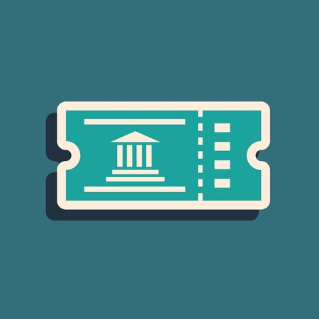 Green Museum ticket icon isolated on blue background. History museum ticket coupon event admit exhibition excursion. Long shadow style. Vector Illustration