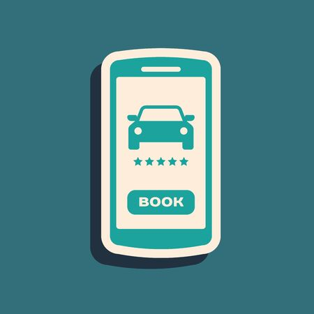 Green Online car sharing icon isolated on blue background. Online rental car service. Online booking design concept for mobile phone. Long shadow style. Vector Illustration