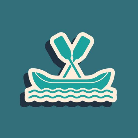 Green Rafting boat icon isolated on blue background. Kayak with paddles. Water sports, extreme sports, holiday, vacation, team building. Long shadow style. Vector Illustration Иллюстрация