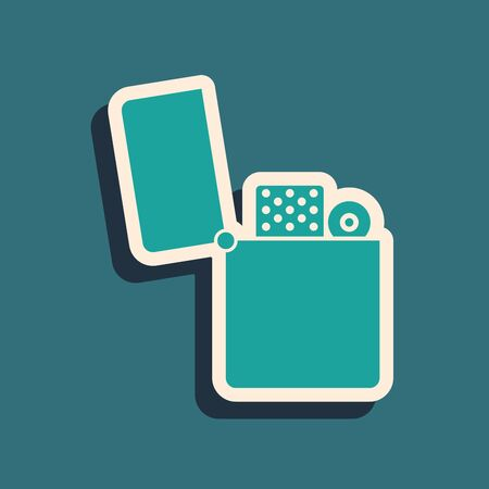 Green Lighter icon isolated on blue background. Long shadow style. Vector Illustration