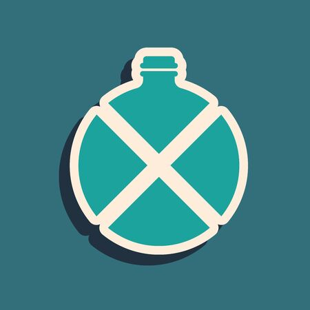 Green Canteen water bottle icon isolated on blue background. Tourist flask icon. Jar of water use in the campaign. Long shadow style. Vector Illustration