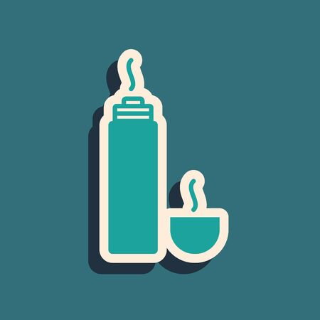 Green Thermo container icon isolated on blue background. Thermo flask icon. Camping and hiking equipment. Long shadow style. Vector Illustration Ilustrace