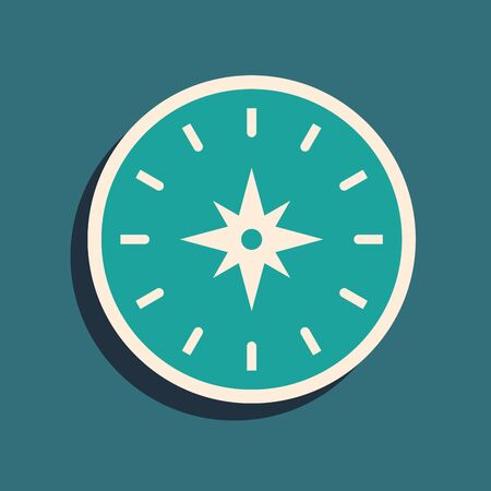 Green Compass icon isolated on blue background. Windrose navigation symbol. Wind rose sign. Long shadow style. Vector Illustration