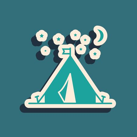 Green Tourist tent with flag icon isolated on blue background. Camping symbol. Long shadow style. Vector Illustration
