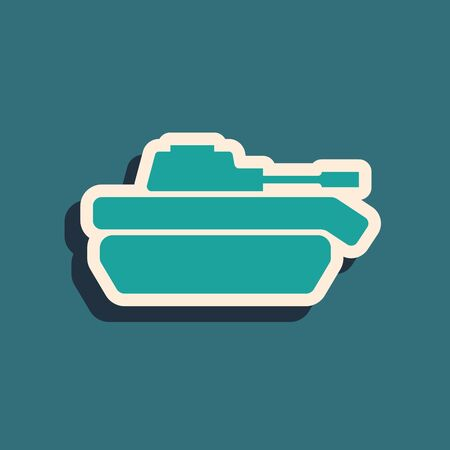 Green Military tank icon isolated on blue background. Long shadow style. Vector Illustration Stock Illustratie
