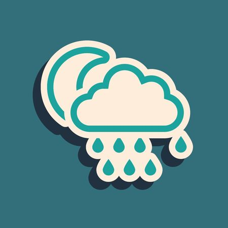 Green Cloud with rain and moon icon isolated on blue background. Rain cloud precipitation with rain drops. Long shadow style. Vector Illustration Иллюстрация