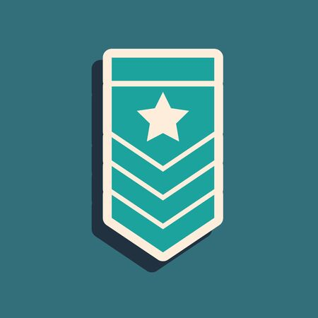 Green Chevron icon isolated on blue background. Military badge sign. Long shadow style. Vector Illustration