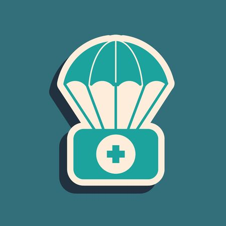Green Parachute with first aid kit icon isolated on blue background. Medical insurance. Long shadow style. Vector Illustration Çizim