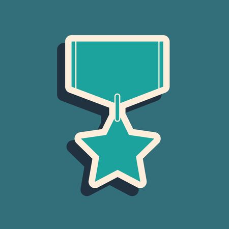 Green Military reward medal icon isolated on blue background. Army sign. Long shadow style. Vector Illustration