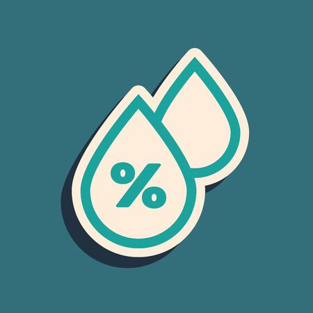 Green Water drop percentage icon isolated on blue background. Humidity analysis. Long shadow style. Vector Illustration Illustration