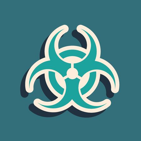 Green Biohazard symbol icon isolated on blue background. Long shadow style. Vector Illustration