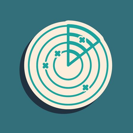 Green Radar with targets on monitor in searching icon isolated on blue background. Military search system. Navy sonar. Long shadow style. Vector Illustration 向量圖像