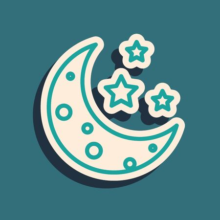 Green Moon and stars icon isolated on blue background. Long shadow style. Vector Illustration