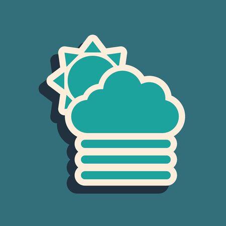 Green Fog and cloud with sun icon isolated on blue background. Long shadow style. Vector Illustration Illusztráció