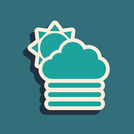 Green Fog and cloud with sun icon isolated on blue background. Long shadow style. Vector Illustration Illustration